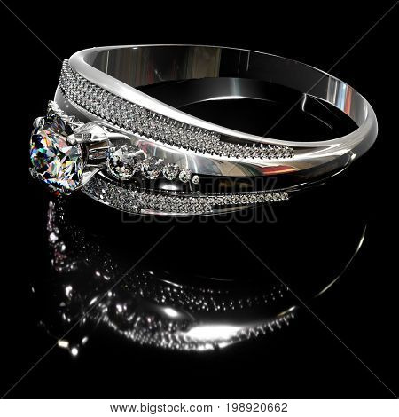 Platinum silver ring with diamond gem jewelry. Gold luxury jewellery bijouterie with crystal for people in love . Side view of crown gemstone and reflection on black background. 3D rendering.