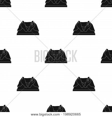 Deceased with tag icon in black design isolated on white background. Funeral ceremony symbol stock vector illustration.