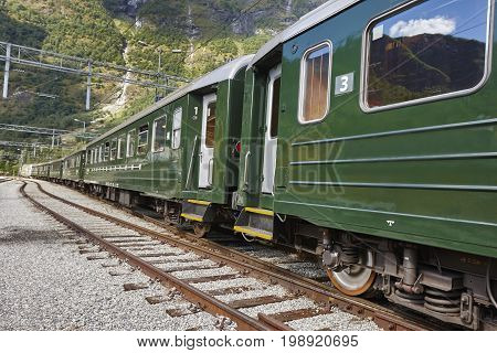 Flam train wagon in Norway. Norwegian tourism highlight. Railway station