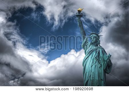 Statue Of Liberty. Clouds In The Form Of Heart