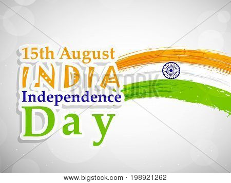 illustration of India flag with 15th August India Independence Day text on the occasion of India Independence Day