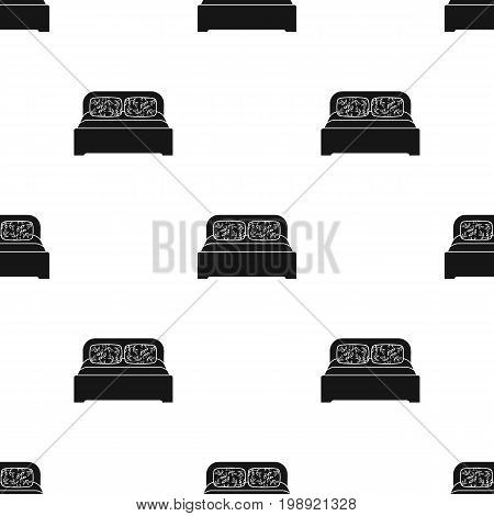 Wooden double bed icon in black style isolated on white background. Furniture and home interior symbol vector illustration.