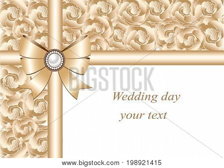 Wedding invitation with bow and ribbons. Postcard with flowers for wedding marriage bridal birthday Valentine's day. On tender background.