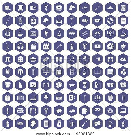 100 leisure icons set in purple hexagon isolated vector illustration
