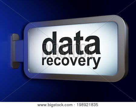 Information concept: Data Recovery on advertising billboard background, 3D rendering