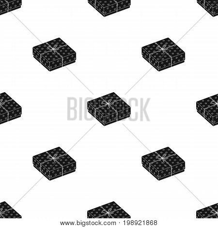 Purple gift for polka dots. Gift wrap on holiday.Gifts and Certificates single icon in black style vector symbol stock web illustration.