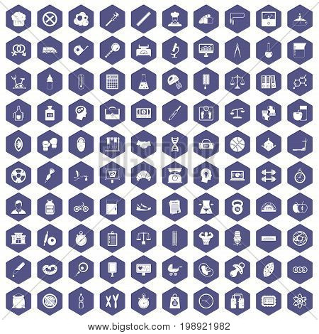 100 libra icons set in purple hexagon isolated vector illustration