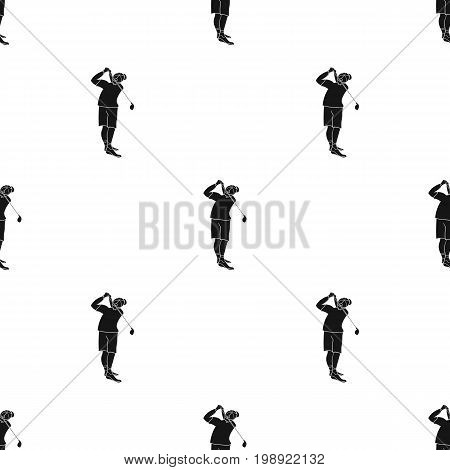 Golfer after kick icon in black style isolated on white background. Golf club symbol vector illustration.