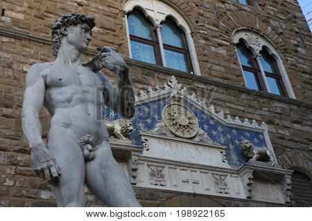 The statue of David by Michelangelo on the Piazza della Signoria in Florence, Italy