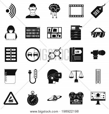 Gaining knowledge icons set. Simple set of 25 gaining knowledge vector icons for web isolated on white background