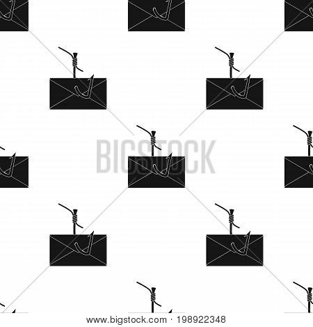 Hooked e-mail icon in black design isolated on white background. Hackers and hacking symbol stock vector illustration.