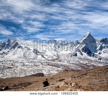 Panorama of Himalayan mountain landscape in Sagarmatha National Park - view on Ama Dablam mount from Chhukhung Ri in Everest Region, Nepal, Himalayas