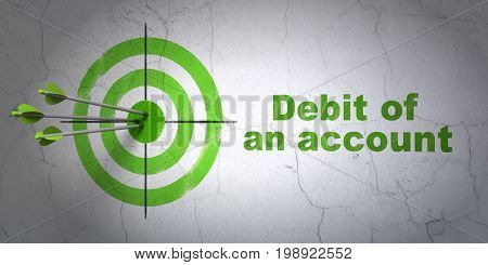 Success money concept: arrows hitting the center of target, Green Debit of An account on wall background, 3D rendering