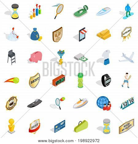 Great victory icons set. Isometric style of 36 great victory vector icons for web isolated on white background