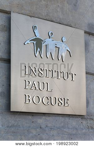 Lyon, France - May 26, 2017: Paul Bocuse institute in Lyon, France. Paul Bocuse Institute is a management and training school for the hotel, catering and culinary arts