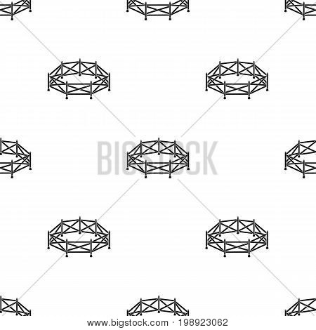 Paddock icon in black design isolated on white background. Hippodrome and horse symbol stock vector illustration.