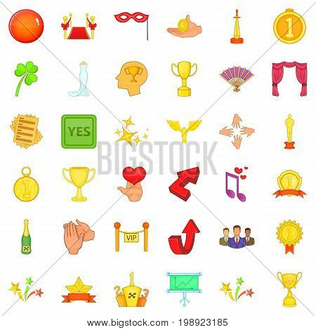 Successfully victory icons set. Cartoon style of 36 successfully victory vector icons for web isolated on white background
