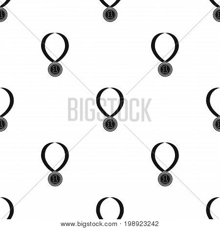 Gold medal for equestrian sport icon in black design isolated on white background. Hippodrome and horse symbol stock vector illustration.