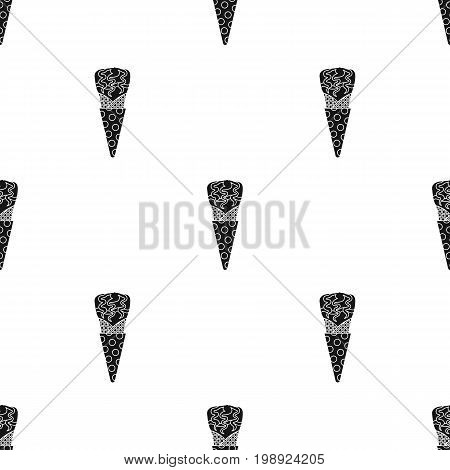 Ice cream in waffle cup icon in black design isolated on white background. Ice cream symbol stock vector illustration.
