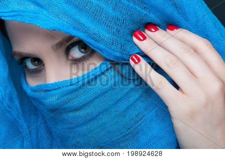 Beautiful Woman With Smooth Skin And Face Covered