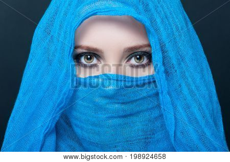 Picture Of Young Female Model In Blue Scarf