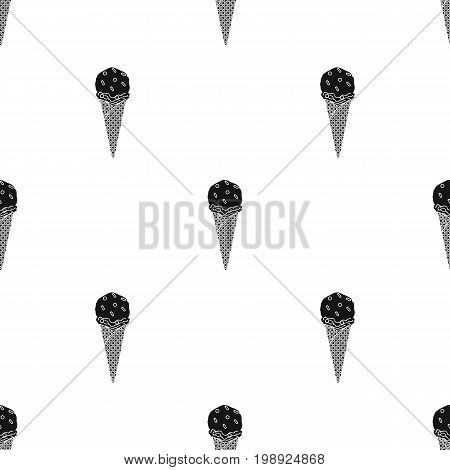 Ice cream in waffle cone icon in black design isolated on white background. Ice cream symbol stock vector illustration.