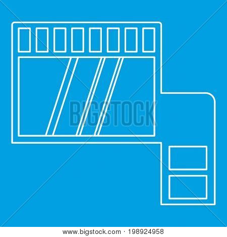 Memory card icon blue outline style isolated vector illustration. Thin line sign