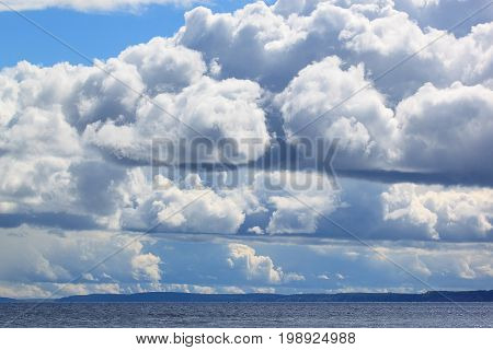 Blue sky at sunset with aerial clouds. Beautiful in nature.
