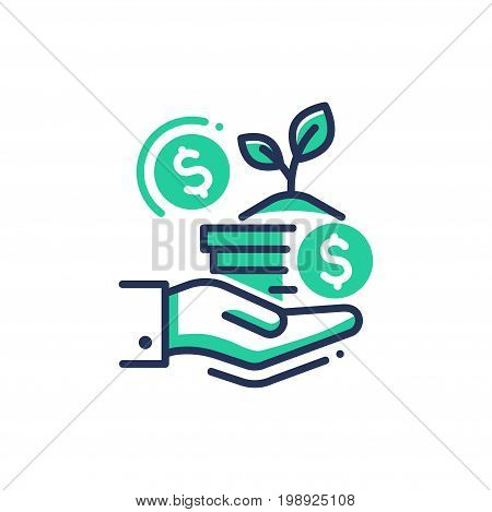 Donation - modern vector single line design icon. Image depicting hand holding a vase with growing plant, dollar signs on white background, green color. Use it for charity, business presentation.