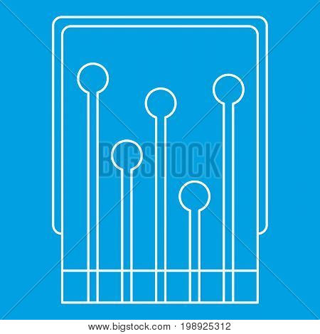 Computer processor icon blue outline style isolated vector illustration. Thin line sign