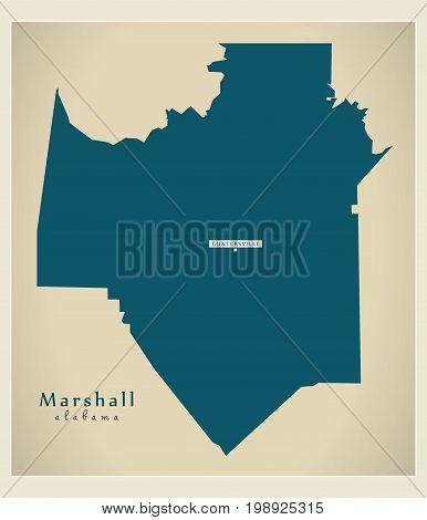 Modern Map - Marshall Alabama County Usa Illustration