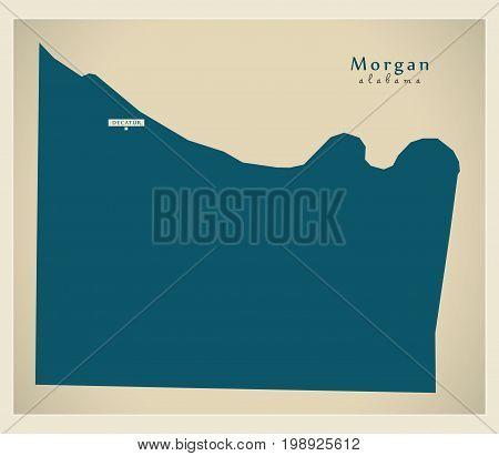 Modern Map - Morgan Alabama County Usa Illustration