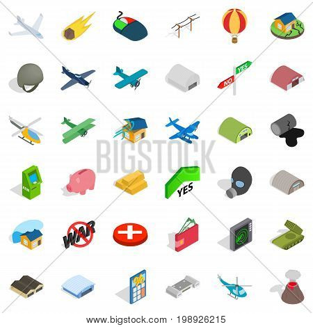 Long war icons set. Isometric style of 36 long war vector icons for web isolated on white background