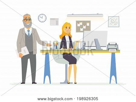 Office Life - vector illustration of a business situation scene. Cartoon people characters of senior male, young female at work station. Manager, supervisor, giving advice to secretary, reception girl