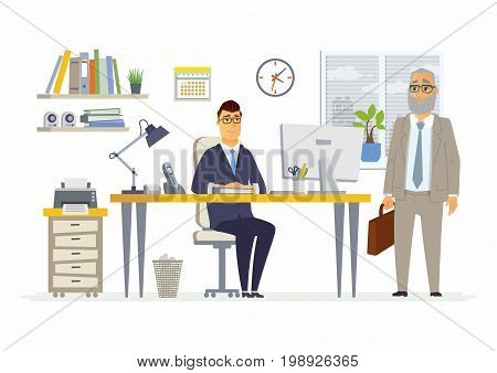 Office Scene - vector illustration of a business situation. Cartoon people characters of young, senior male colleagues, partners discussing work. Manager, supervisor, consultant, client talking