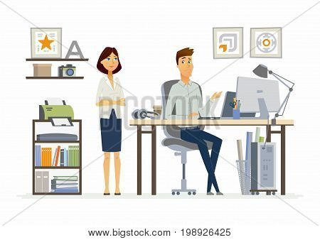 Correcting Mistakes - vector illustration of a business, office situation. Cartoon people characters of young female, male colleagues at work. Manager, supervisor dissatisfied with subordinate work