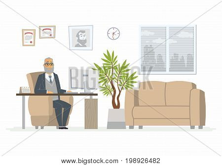 Office Head - vector illustration of a business situation. Cartoon person character of senior male at work. Company president, manager, supervisor in the armchair working at desktop in room with sofa