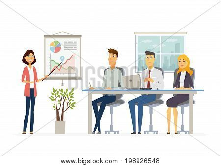 Business Meeting - vector illustration of an office situation. Cartoon people characters of young men, women at work. Female colleague making presentation, showing charts, reporting, training staff