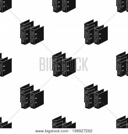 Ring binders icon in black design isolated on white background. Library and bookstore symbol stock vector illustration.