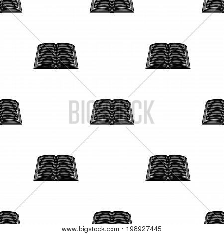 Book icon in black design isolated on white background. Library and bookstore symbol stock vector illustration.