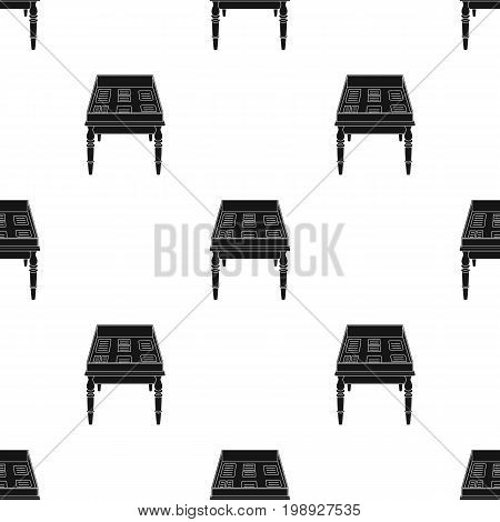Showcase with old documents icon in black design isolated on white background. Library and bookstore symbol stock vector illustration.