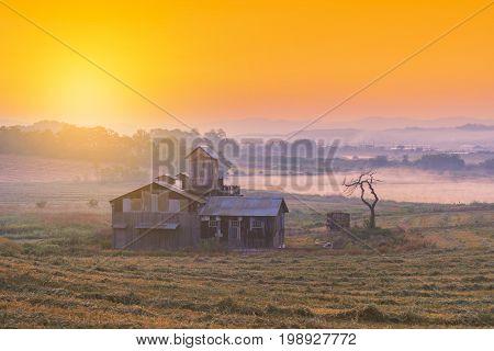 Sunrise Of Farmhouse In The Korea Countryside. Anseong Farmland South Kore