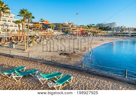 COSTA ADEJE TENERIFE SPAIN - JANUARY 31 2012: View of La Pinta Beach at the evening time. Canary Islands