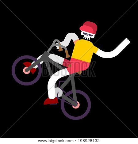Skeleton On Bicycle. Skull And Bmx. Boy Skeletons Rolling Bike