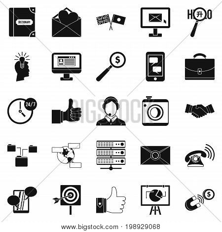Interplay icons set. Simple set of 25 interplay vector icons for web isolated on white background