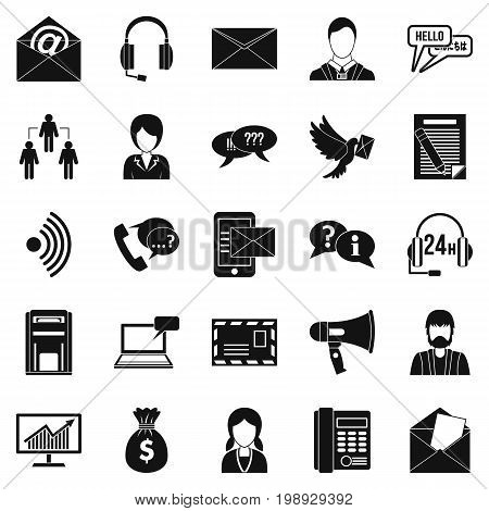 Interaction icons set. Simple set of 25 interaction vector icons for web isolated on white background