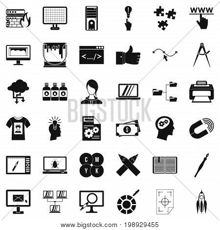 Website icons set. Simple style of 36 website vector icons for web isolated on white background