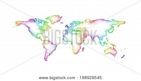 Rainbow sketch world map design from multicolored curved lines - vector illustration on white background