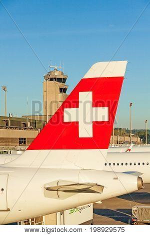Zurich Switzerland - June 11 2017: Airport Zurich - airplane tail fin of airline