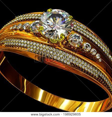 Engagement gold ring with gem diamond. luxury jewellery bijouterie with gemstone for people in love . Frontal view on black background. 3D rendering